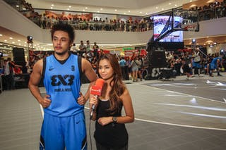 #3 Romeo Terrence Bill, Team Manila West, giving an interview, FIBA 3x3 World Tour Tokyo Final 2014, 11-12 October