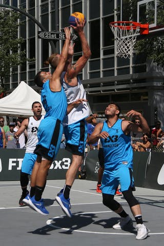 4 Victor Raso (CAN) - 4 Jasmin Hercegovac (SLO) - 5 Vadim Halimov (CAN) - 7 Blaz Cresnar (SLO) - Ljubljana vs Hamilton in the FIBA 3x3 World Tour Saskatoon 2017 semi final