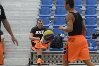 Players warming up, FIBA 3x3 World Tour Lausanne 2014, 29-30 August.