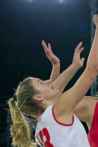 13 Simone Sill (AUT) - 10 Aitana Cuevas (ESP) - FIBA 3x3, World Tour 2021, Mtl, Can, Esplanade de la Place des Arts. Women final Spain vs Austria
