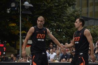 #4 Domovic Bulut and #7 Marko Zdero. Team Novi Sad. 2014 World Tour Prague. 3x3 Game. 23 August. Day 1.