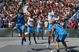 6 Xavier Zambrana (PUR) - 3 Jorge Matos (PUR) - 6 Nolan Brudehl (CAN) - 3 Steve Sir (CAN) - 5 Michael Lieffers (CAN) - Saskatoon vs Gurabo in the FIBA 3x3 World Tour Saskatoon 2017 semi final