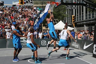 6 Xavier Zambrana (PUR) - 6 Nolan Brudehl (CAN) - 5 Michael Lieffers (CAN) - Saskatoon vs Gurabo in the FIBA 3x3 World Tour Saskatoon 2017 semi final