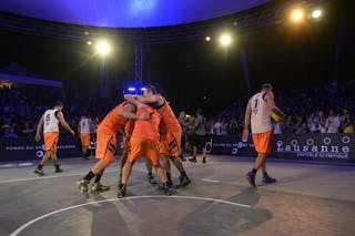 Team Trbovlje celebrating the victory, FIBA 3x3 World Tour Lausanne 2014, Day 2, 30. August.