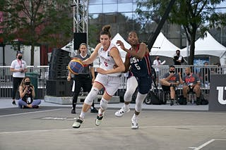 FIBA 3x3, World Tour 2021, Montréal, Canada, Esplanade de la Place des Arts. Woman AUSTRIA VS USA