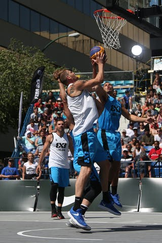 4 Jasmin Hercegovac (SLO) - 5 Vadim Halimov (CAN) - 7 Blaz Cresnar (SLO) - Ljubljana vs Hamilton in the FIBA 3x3 World Tour Saskatoon 2017 semi final