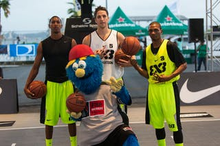 Michael Lieffers (Team Saskatoon), Deivy Gonzalez (San Cristobal), Devon Curry (NY Staten) at the San Juan Masters 10-11 August 2013 FIBA 3x3 World Tour, San Juan, Puerto Rico