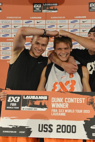 Dunk contest winner with check 2013 FIBA 3x3 World Tour Masters in Lausanne