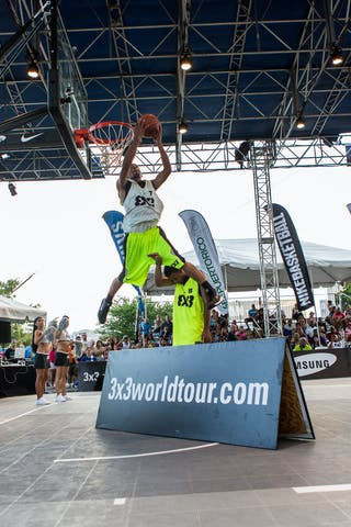 Dunk over A board at the San Juan Masters 10-11 August 2013 FIBA 3x3 World Tour, San Juan, Puerto Rico. Day 2
