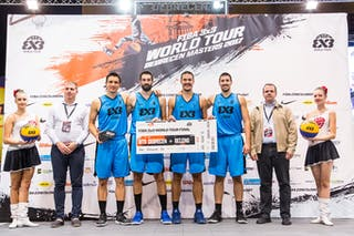 Prize ceremony with the winners of the FIBA 3x3 World Tour Debrecen Masters