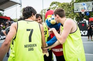 Team Neuquen with mascot, FIBA 3x3 World Tour Rio de Janeiro 2014, 27-28 September.