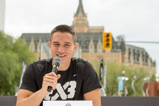 Stefan Stojacic speaks during an opening press conference in Saskatoon, Canada on July 20, 2018.
