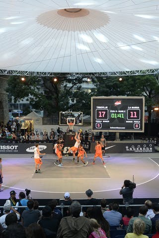 Court view, FIBA 3x3 World Tour Lausanne 2014, Day 1, 29. August.