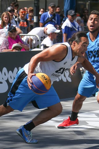 4 Tjader Fernandez (PUR) - 4 Michael Linklater (CAN) - Saskatoon vs Gurabo in the FIBA 3x3 World Tour Saskatoon 2017 semi final