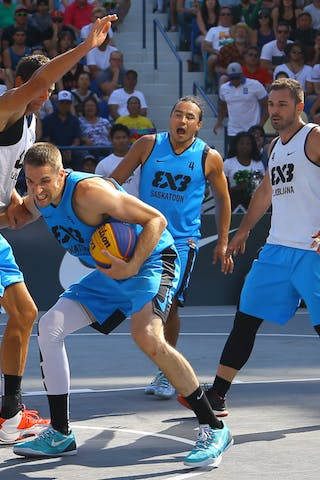 4 Jasmin Hercegovac (SLO) - 4 Michael Linklater (CAN) - 5 Michael Lieffers (CAN) - Ljublijana vs Saskatoon in the FIBA 3x3 World Tour Saskatoon 2017 final