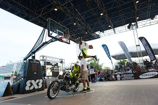 Dunk over a Motorcycle at the San Juan Masters 10-11 August 2013 FIBA 3x3 World Tour, San Juan, Puerto Rico. Day 2
