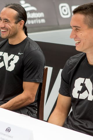 Michael Linklater and Stefan Stojacic share a laugh during an opening press conference on July 20, 2018 in Saskatoon, Canada.