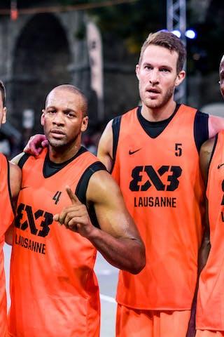 Team Lausanne.Nikola STEVANOVIC (Switzerland); Derrick LANG (USA); Oliver VOGT (Switzerland); Dramane DIARRA (France). 2015 WT Lausanne, Pool, 28 August 2015