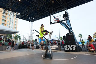 Dunk over the Aboard at the San Juan Masters 10-11 August 2013 FIBA 3x3 World Tour, San Juan, Puerto Rico. Day 2