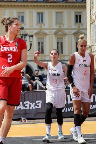 2 Katherine Plouffe (CAN) - 13 Tamara Rajic (SRB) - 4 Dragana Gobeljic (SRB)