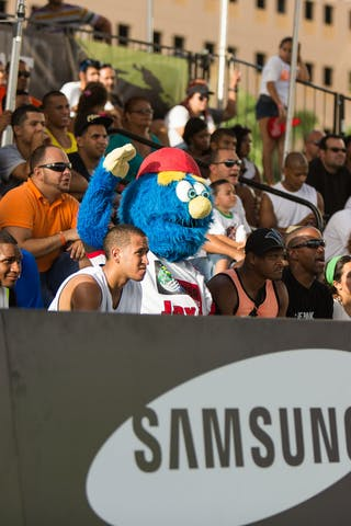 Fans and mascot at the San Juan Masters 10-11 August 2013 FIBA 3x3 World Tour, San Juan, Puerto Rico
