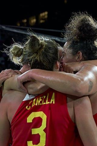 11 Vega Gimeno (ESP) - 13 Sandra Ygueravide (ESP) - 10 Aitana Cuevas (ESP) - 3 Marta Canella (ESP) - FIBA 3x3, World Tour 2021, Mtl, Can, Esplanade de la Place des Arts. Women final Spain vs Austria