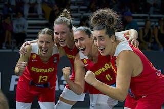 13 Sandra Ygueravide (ESP) - 10 Aitana Cuevas (ESP) - 11 Vega Gimeno (ESP) - 3 Marta Canella (ESP) - FIBA 3x3, World Tour 2021, Mtl, Can, Esplanade de la Place des Arts. Women final Spain vs Austria