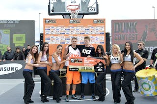 Dunk contest winner with Cheerleaders at the 2013 FIBA 3x3 World Tour final in Istanbul