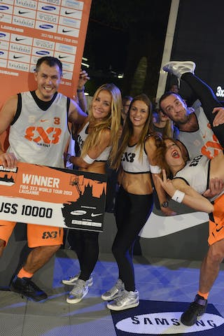 Kranj (Slovenia) winners with Cheerleaders 2013 FIBA 3x3 World Tour Masters in Lausanne