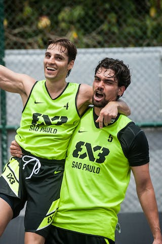 Del'Arco Rodrigo Diguinho and Marcio Cardozo celebrating the victory, Team Sao Paulo, FIBA 3x3 World Tour Rio de Janeiro 2014, Day 2, 28. September.