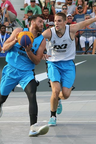 6 Igor Lebov (CAN) - 5 Michael Lieffers (CAN) - Saskatoon vs Hamilton at FIBA 3x3 Saskatoon 2017