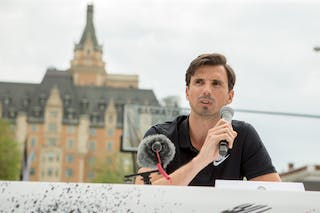 Ignacio Soriano speaks during an opening press conference in Saskatoon, Canada on July 20, 2018.