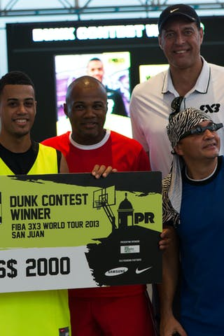 Dunk contest winner with Ortiz and Trinidad at the San Juan Masters 10-11 August 2013 FIBA 3x3 World Tour, San Juan, Puerto Rico. Day 2