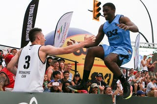 3 Matthew Koenig (CAN) - 5 Jelane Pryce (CAN) - Slam dunk event at FIBA 3x3 Saskatoon 2017