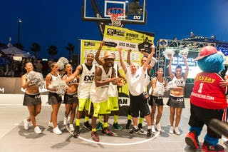Team NY Staten (USA) celebrates after winning the FIBA 3x3 World Tour San Juan Masters on 11 August 2013.