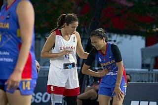 FIBA 3x3, World Tour 2021, Montréal, Canada, Esplanade de la Place des Arts. Women SPAIN VS MONGOLIA