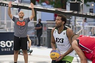 7 Dele Ogundokun (CAN) - FIBA 3x3, World Tour 2021, Montréal, Canada, Esplanade de la Place des Arts. MAN Ub vs. Old Montreal