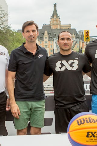 Todd Brandt, Ignacio Soriano, Michael Linklater and Stefan Stojacic pose for a group photo during a press conference held in Saskatoon, Canada on July 20, 2018