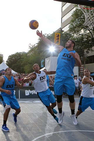 5 Vadim Halimov (CAN) - 4 Victor Raso (CAN) - 6 Nolan Brudehl (CAN) - 4 Michael Linklater (CAN) - Saskatoon vs Hamilton at FIBA 3x3 Saskatoon 2017