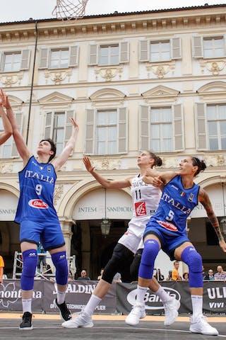 5 Marcella Filippi (ITA) - 11 Ana Maria Filip (FRA) - 9 Giulia Ciavarella (ITA) - 12 Laetitia Guapo (FRA)