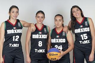 24 Paola Beltran (MEX) - 15 Laura Nunez (MEX) - 8 Nataly Gutierrez (MEX) - 12 Elena Martinez (MEX)