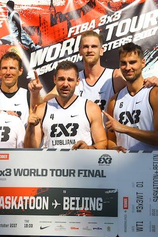 4 Jasmin Hercegovac (SLO) - 5 Ales Kunc (SLO) - 6 Tomo čajič (SLO) - 7 Blaz Cresnar (SLO) - Ljubljana accepts their FIBA 3x3 World Tour Saskatoon award.