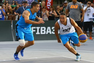 4 Victor Raso (CAN) - 4 Michael Linklater (CAN) - Saskatoon vs Hamilton at FIBA 3x3 Saskatoon 2017