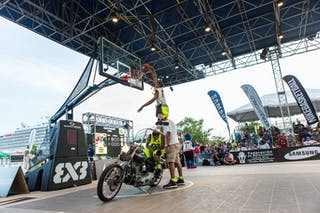 Dunk over a Harley at the San Juan Masters 10-11 August 2013 FIBA 3x3 World Tour, San Juan, Puerto Rico. Day 2