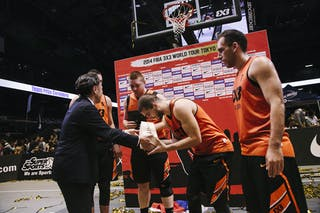 Team Novi Sad receives an award as a winner of the FIBA 3x3 World Tour Tokyo Final 2014, 11-12 october