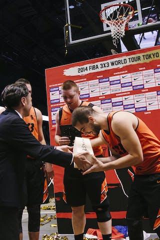 Team Novi Sad receives an award as a winner of the FIBA 3x3 World Tour Tokyo Final 2014, 11-12 october