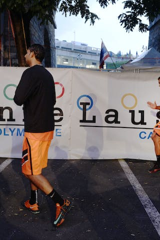 Players warming up, FIBA 3x3 World Tour Lausanne 2014, Day 1, 29. August.