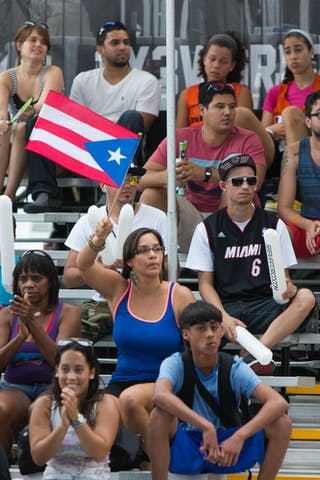 With Puerto Rican flags at the San Juan Masters 10-11 August 2013 FIBA 3x3 World Tour, San Juan, Puerto Rico. Day 2