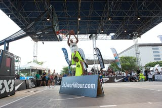 Over the A board at the San Juan Masters 10-11 August 2013 FIBA 3x3 World Tour, San Juan, Puerto Rico. Day 2