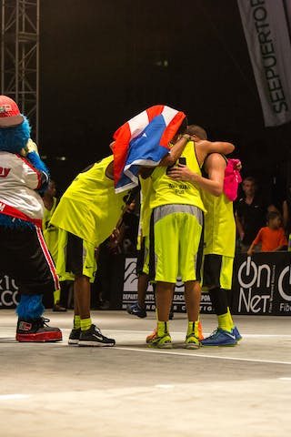 With flag and mascot at the San Juan Masters 10-11 August 2013 FIBA 3x3 World Tour, San Juan, Puerto Rico